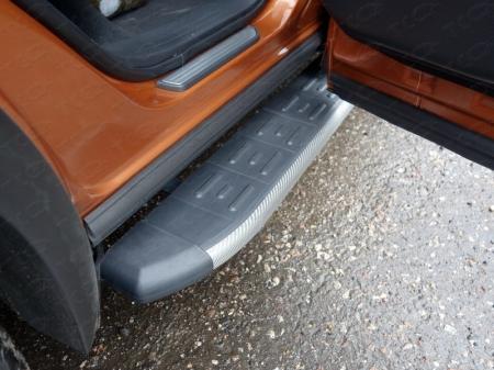 Nissan Murano 2016-Пороги алюминиевые с пластиковой накладкой (карбон серые) 1820 мм